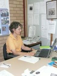 Landholder Bronwyn Turner participating in her first webinar at the NSW DPI office in Hay. Photo by Sally Ware