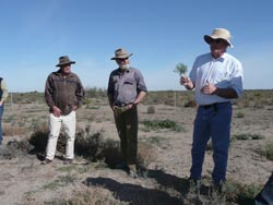 Broken Hill-based Regional Veterinary Officer Greg Curran (right) discussing the plant Bushy Groundsel at a site near Booligal.  This plant contains high level of alkaloids which causes liver damage and death in cattle.  It however, can be readily grazed by sheep.  Also in the photo is rangeland plant expert Peter Milthorpe (left) and local property owner Jim Crossley who considers the Groundsel useful feed for his sheep.