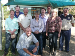 The tour group on farm in the Karoo region.  L-R:  Julie and Justin McClure, farm owner Norman Kroon, Sally Ware, Colleen Southwell, Garry and Tracy Hannigan, local host and well known dorper classer Rodney Raynor and Jason